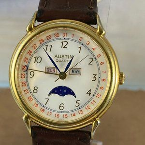 Vintage AUSTIN Moon Phase 4 Hand Gold Tone Watch